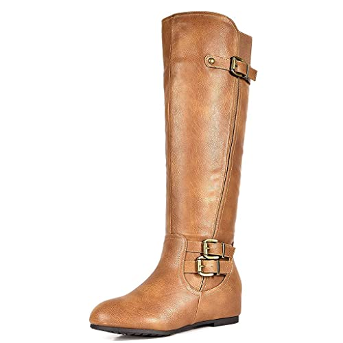 49c2df56a54 DREAM PAIRS Women s Knee High Low Hidden Wedge Boots (Wide-Calf)