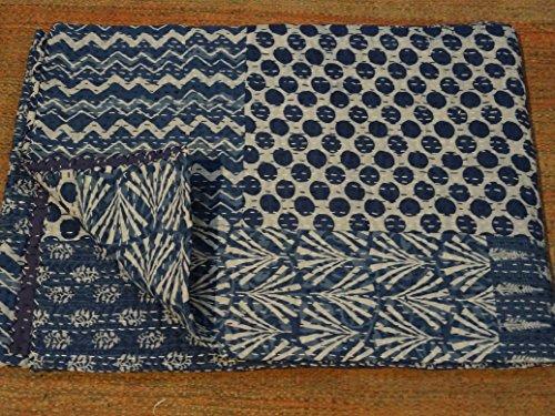 Indigo Couleur main bloc Imprimé x courtepointe, double taille coton Patchwork Couvre-lit, fabriqué par Tribal Textiles asiatiques