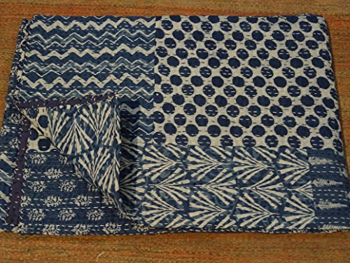 Tribal Asian Textiles Indigo Color Hand Block Printed Kantha Quilt, Twin Size Cotton Bedspread, Made