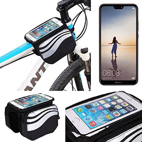 K-S-Trade® Rahmentasche Für Huawei P20 Lite Single-SIM Rahmenhalterung Fahrradhalterung Fahrrad Handyhalterung Fahrradtasche Handy Smartphone Halterung Bike Mount Wasserabweisend, Silber-schwarz