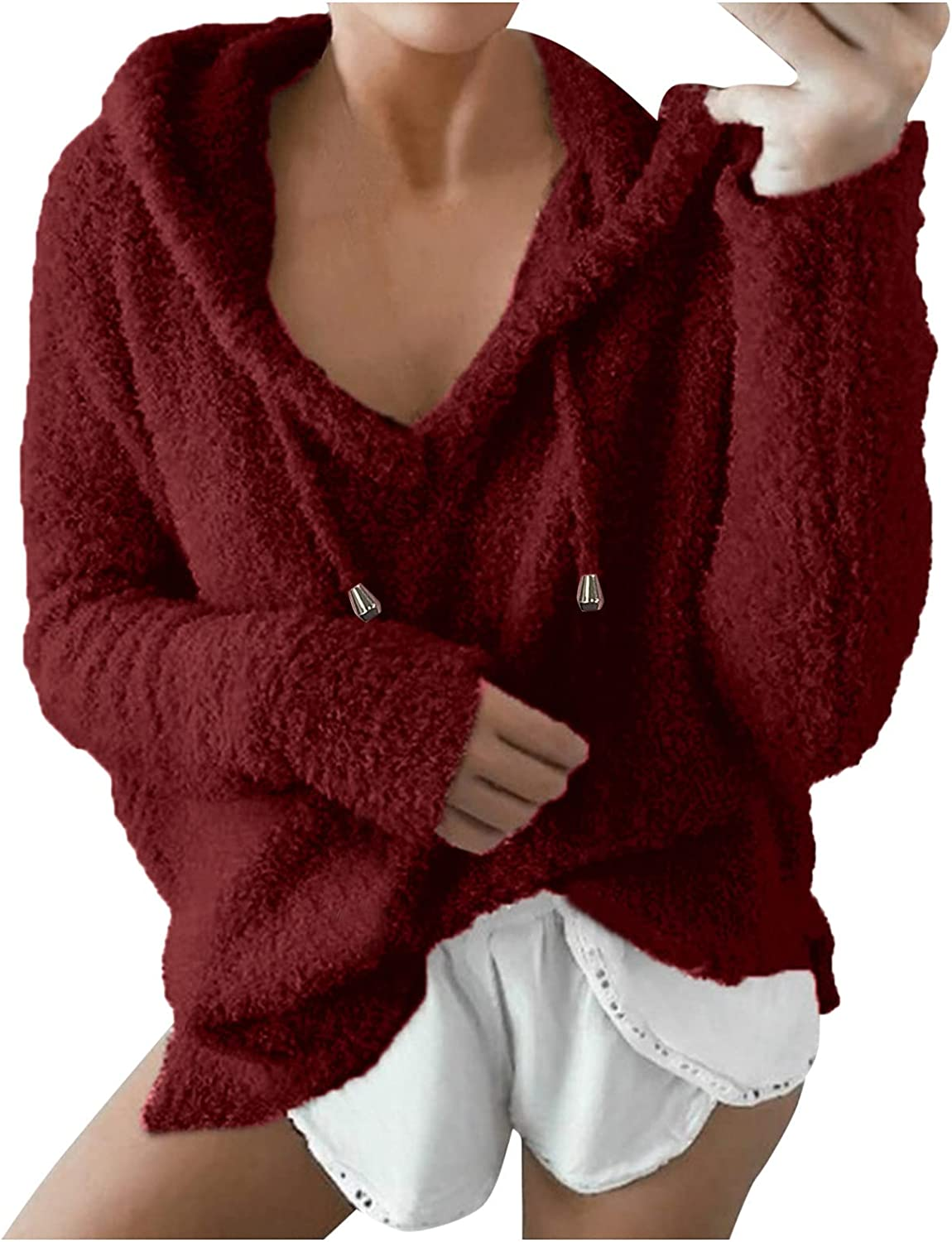 Maryia Oversized Sweaters for Women Plush Mohair Casual Loose Cozy Hooded Sweatshirt Drawstring Pullover Tops