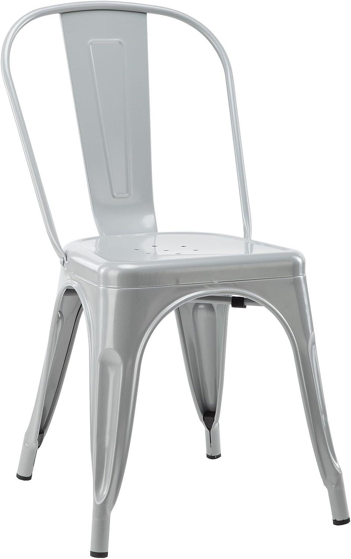 Hodedah HIC9001 Grey Stackable Indoor Outdoor Metal Chair, Grey