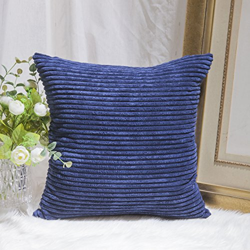 Home Brilliant Striped Large Cushion Cover Textured Velvet Corduroy Europe Sham Square Pillow Cover for Couch, Navy Blue, (66x66 cm, 26inch)