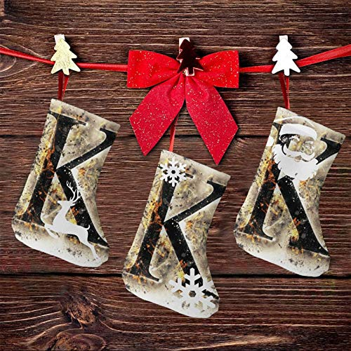 ETHAICO Holiday Christmas Stockings 7.5 inches (3 Packs),Smoked Letter K Alphabet in Blaze with Grunge Design Ignited Writing Symbol,Cozy Socks Fancy Christmas Holiday Design Soft
