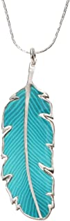 925 Sterling Silver Feather Necklace Pendant Turquoise-Colored Polymer Clay Handmade Jewelry