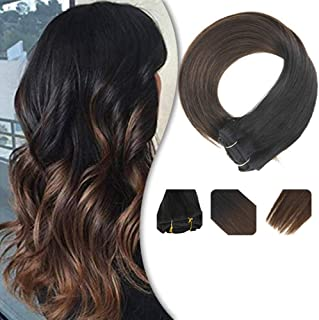 YoungSee 18inch Hair Extensions Clip in Remy Hair Natural Black Fading to Dark Brown Dip Dyed Clip on Hair Extensions Ombre Clip in Hair Extensions Black Human Hair 120G/7Pcs