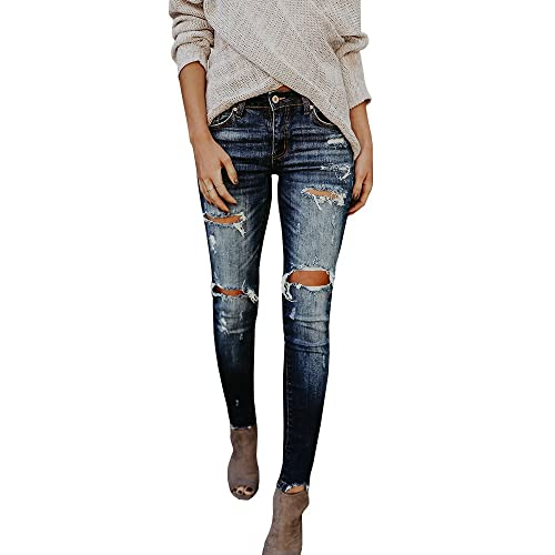 373d342502a Meilidress Womens Juniors Distressed Ripped Boyfriend Skinny Denim Ankle Length  Jeans