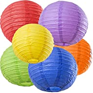 Bobee Rainbow Party Decorations, Fiesta Party Supplies Paper Lanterns, 6 Count