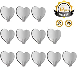 Jremreo 12 Pack Wall Hooks, (Brand) Heart Shape Seamless Adhesive Hooks, Heavy Duty Stainless Steel Hooks for Hanging Keys Towels Coat Pictures Without Nails in Bathroom Kitchen Wall