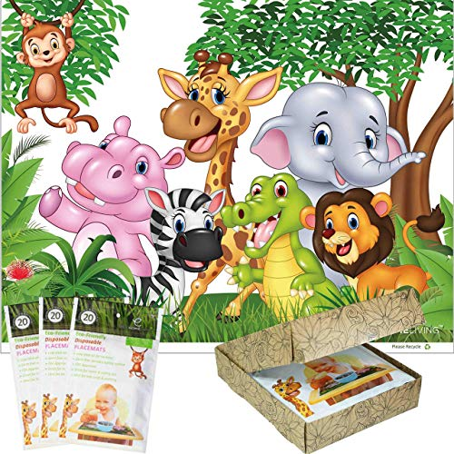 60 Premium Disposable Placemats for Kids and Babies Extra Sticky Extra Large Plastic Adhesive Table Topper Mats Safe for Feeding Children That Stick. Best Mom Hack, BPA Free (Jungle White)