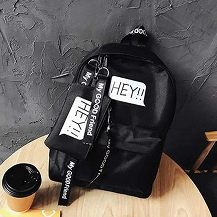 肌味わう温度キャンバス女性バッグファッションレター印刷ジッパー女性のバックパックバッグカジュアルシンプルな大容量の学生バッグ