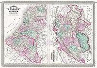 MAP JOHNSON 1870スイスオランダ大レプリカポスター印刷PAM0963