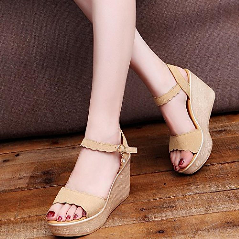 GTVERNH-Summer Sandals Words Waterproofing Toes Slope Heels High Heels Suede Women'S shoes Buckle