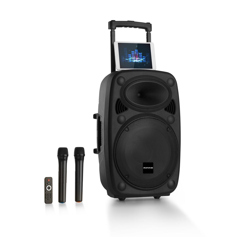 auna Pro Streetstar 2.0 - Equipo PA portátil, Altavoz DJ, Bluetooth, Puerto USB, SD, MP3, AUX, Batería 3 Ah, LED, 2 micrófonos UHF, Mando a Distancia, ...