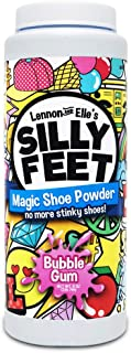 Silly Feet Magic Shoe Deodorizer Powder - Foot Powder Shoe Odor Eliminator for Kids Smelly Feet - 8 Ounce Bubble Gum Scent