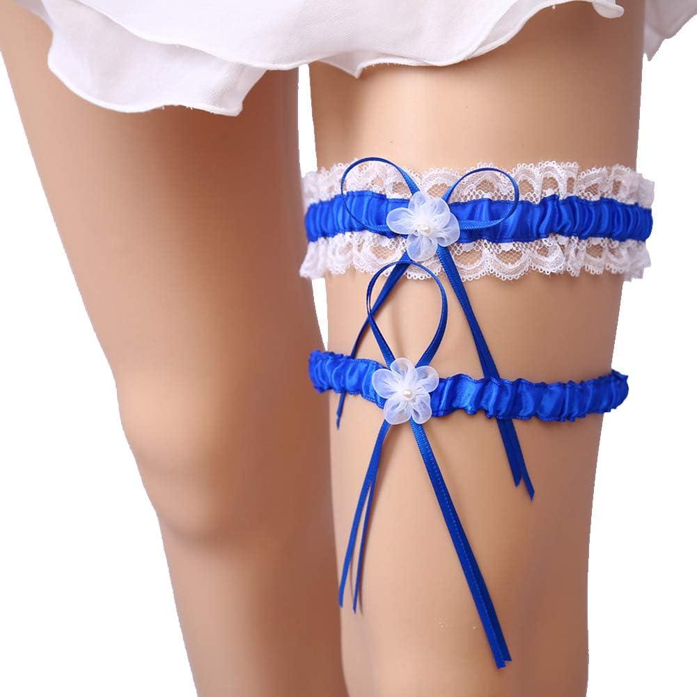 MMTTAO Wedding Garter for Bridal Leg Ring Satin Bow Plus Size Stretch Prom Garters Set