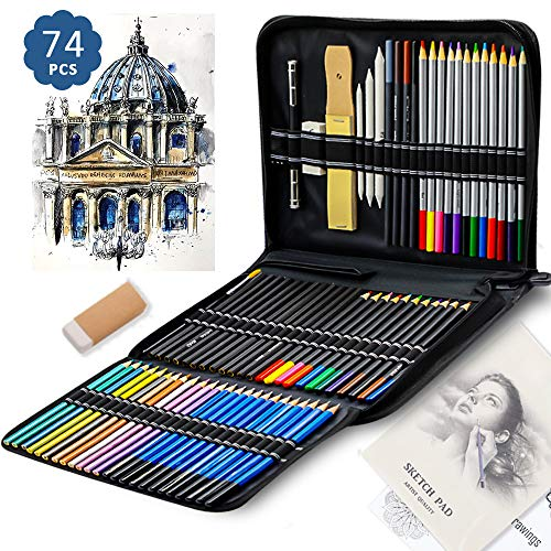 YOUXIN Colored Pencils for Adults 74-Piece Portable Drawing Pencils Set for Kids,Teens and Beginner Professional Artist Sketch Pencils Art Supplies