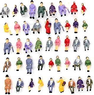 CWBPING 50pcs 1:87 HO Scale Tiny People Model People Hand Painted Model Train Park Street Passenger People Figure Sitting ...