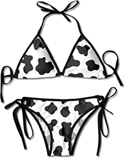 Granbey Cow Print Bikini Cow Bathing Suit Set Sexy Cows Print Bathing Suits Black and White Spots Printed Swimsuits Adjust...