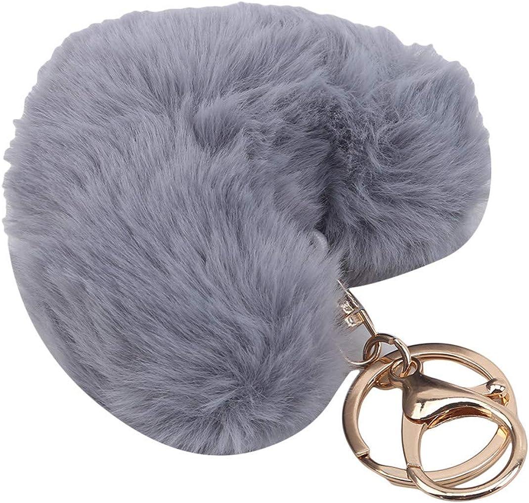 Airlove Heart-Shaped Ball Pom Keychain Artificial Fur Ball Keychain Fluffy Accessories Car Bag Charm