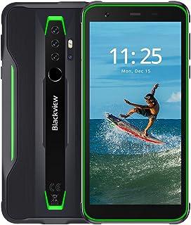 BV6300頑丈な電話、Android10屋外スマートフォン4GデュアルSIMIP68耐衝撃防水電話、5.7インチMTkA25プロセッサオクタコア3GB + 32GB、4380mAh、13MPクアッドリアHDR、NFC (Green)