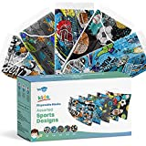 WeCare Disposable Face Masks For Kids, 50 Assorted Sports Print Face Masks, Individually Wrapped