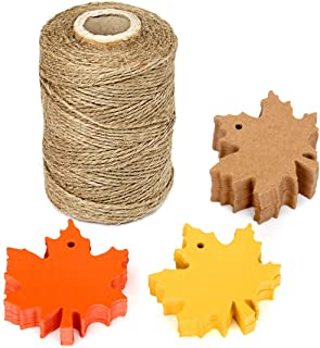Blissitme 150 Pcs Maple Leaves Gift Tags Kraft Leaf Paper Tags Favor with 328 Feet Natural Jute Twine String for Crafts, Thanksgiving,Autumn, Halloween, Wedding