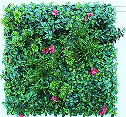 Wonderland Big Size Artificial Garden Wall Mat/Mats with Mixed Leaves and Flowers for Vertical Garden/Gardening, Home Decor, Garden Decoration, Balcony Wall