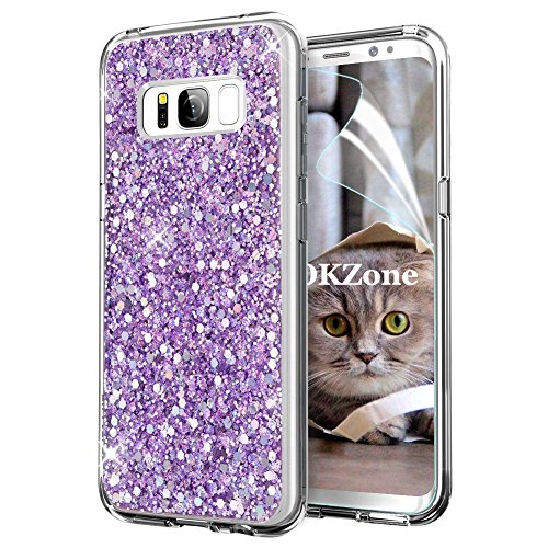 OKZone Coque Samsung Galaxy S8 Plus, Mince Étui en Silicone Souple Paillette Strass Brillante Bling Bling Glitter de Luxe,TPU Bumper Housse Etui de Protection pour Samsung Galaxy S8 Plus (Violet)