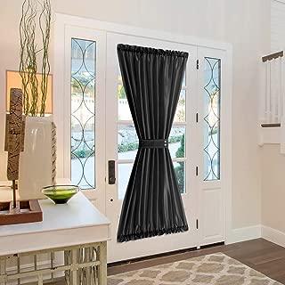 Vangao Rod Poket Curtain 72 inch Length Faux Silk Black French Door Panel Satin Privacy French Door Curtain, 1 Panel, with Bonus Tieback