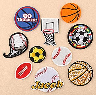 Astra Gourmet 10pcs Ball Sports Games Iron on Patch Applique Motif Fabric Children Football Baseball Basketball Rugby Soccer Embroidered Appliques Iron on Patches for Kids Jeans Decoration Clothing Repair