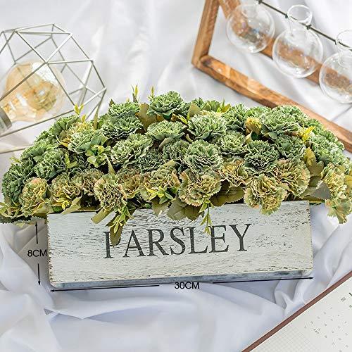 Jnseaol Fleurs Artificielles Arrangement Floral Bonsaï Pot en Bois Décoration pour Maison, Jardin, Cuisine, Mariage Et Magasin pour Amie Saint Valentin, Fête des Mères Oeillet Vert