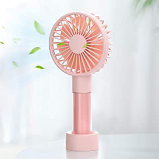 SmartDevil Handheld Fan, Mini Personal Fan with 1200mAh Rechargeable Battery, 3 Speeds Adjustable, Portable Desk Fan with Base, Colorful Handheld Fan For Home, Travel, Office, Camping, Pink