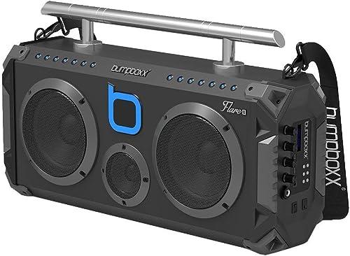 Bumpboxx Bluetooth Boombox Flare6 Black | Retro Boombox with Bluetooth Speaker | Rechargeable Bluetooth Speaker