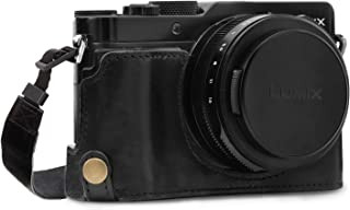 MegaGear Panasonic Lumix LX100 II Ever Ready(エヴァーレディー) 本革 カメラ ハーフ ケース&ストラップ バッテリーアクセス可能 (ブラック)