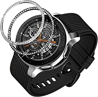 Dsytom Jewelry Bezel Ring Compatible with Galaxy Watch 46mm 2 Pack,Galaxy Gear S3 Frontier & Classic Bezel Ring Cover Protector Adhesive Loop Anti Scratch Design for Samsung Galaxy Watch Accessory