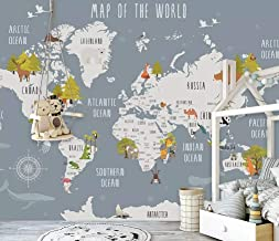 Murwall Kids World Map Wallpaper Nursery Animal Map Wall Murals Boys Bedroom Girls Bedroom Kindergarten Wall Decor Child Wall Art