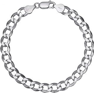 """Solid 925 Sterling Silver Men's Heavy Italian 8mm Cuban Curb Link Chain Bracelet 7"""" - 9"""""""