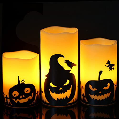 """2021 Eldnacele Flameless Flickering Candles with Timer, Battery sale Operated LED Pillar Candles with Pumpkin sale Decals, Halloween Themed Horror Spooky Decoration Set of 3 (D 3"""" x H 4"""" 5"""" 6"""") online sale"""