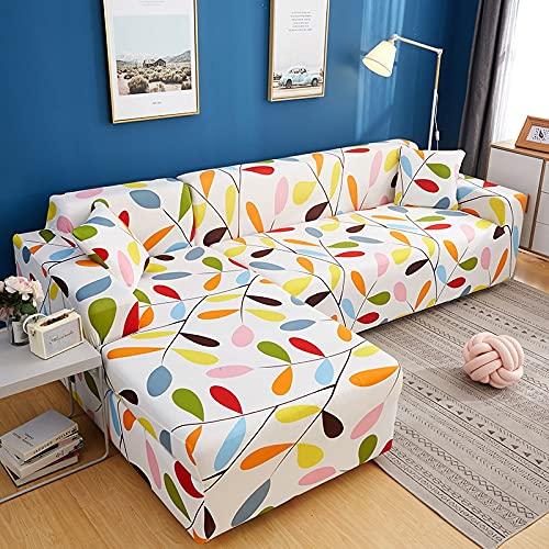 Juego de Fundas elásticas para sofá Fundas de sofá seccionales con Estampado de Hojas pastorales Decorativas Protector de sofá en Forma de L Envoltura Todo Incluido A11 2 plazas