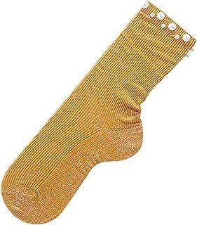 SilenceID, Calcetines para mujer, con perlas, transpirables, suaves, cálidos y acogedores, color amarillo