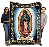 Our Lady of Guadalupe - Nuestra Señora de Guadalupe - Symbol of Catholic Mexicans - Mexico - Cotton Woven Blanket Throw - Made in The USA (72x54)