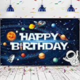 Solar System Decorations Large Happy Birthday Outer Space Poster Banner Space Theme Backdrop Background for Kids Boys Space Birthday Planets Party Educational Supplies, 72.8 x 43.3 Inches