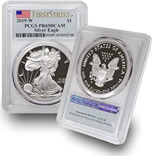 2019 W 1 oz American Silver Eagle $1 PR69DCAM PCGS First Strike Flag Label .999 Fine Silver US Mint