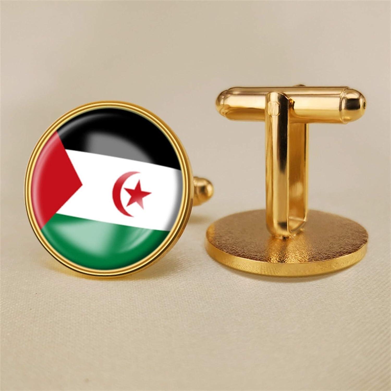 YYOBK Boys' Cuff Links,Men's Cuff Links,Shirt Studs,Sports Fan Cuff Links,Western Sahara Flag Cufflinks,Round Cufflinks, Copper 19mm (Color : Gold, Size : 19mm)