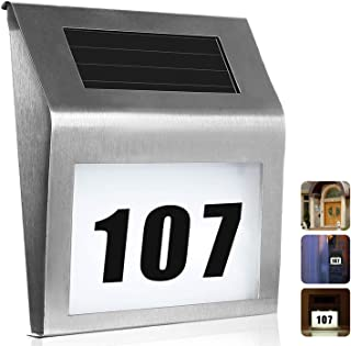 Lighted House Numbers Address Sign - Solar Powered Lighted Up for Home Yard Street - Led Light up Apartment Number - LED Illuminated Outdoor Auto On at Night Off at Daylight (1 Pack)