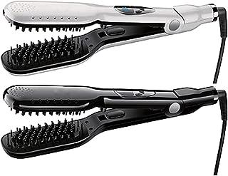 Professional Flat Iron Straightening Brush Ceramic Hair Straightener Comb Smoothing Digital Display Salon Max 450F