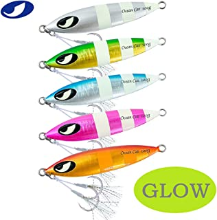 OCEAN CAT 1 PC Slow Fall Pitch Fishing Lures Sinking Lead Metal Flat Jigs Jigging Baits with Hook for Saltwater Fishing 100G/150G/200G/250G