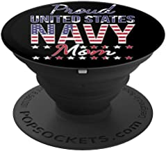 Proud Navy Mom US Flag Family PopSockets Grip and Stand for Phones and Tablets