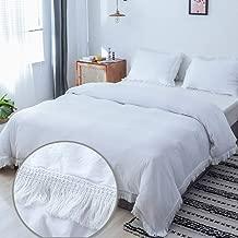 Janzaa White Duvet Cover Set 3 Pieces, Microfiber Tassel Fringed Bedding Cover Boho Soft Home Bedding Set with Zipper Closure & Corner Ties (Queen)